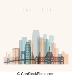 Jersey city state New Jersey skyline detailed silhouette....