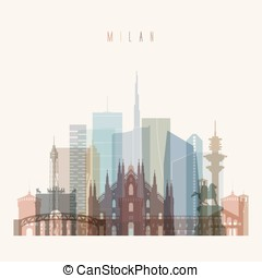 Milan skyline detailed silhouette. Transparent style. Trendy...