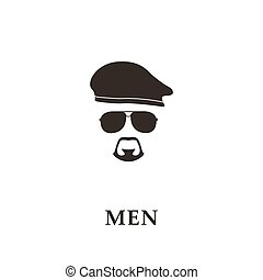 Silhouette soldier with beret, sunglasses and goatee. Vector...