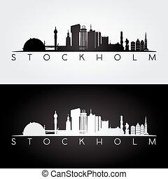 Stockholm skyline and landmarks silhouette. - Stockholm...