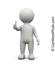 White 3D Character Showing Raised Thumb on White Background...