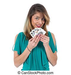 Naughty Brazilian woman shows winning royal flush poker...