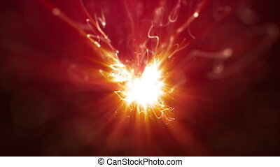 Firework sparkler burning in macro shot, slow motion