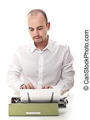 man with vintage typewriter selective focus image