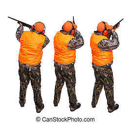 Duck hunter - Three pictures of hunter aiming at a bird,...