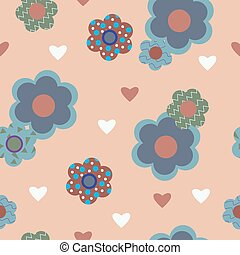 Stylish seamless background with decorative flowers hearts -...
