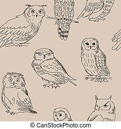 Seamless texture with different owls in retro style