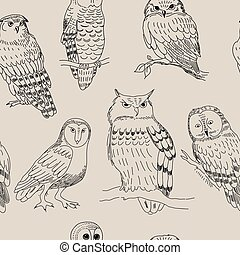 Seamless pattern with various owls in retro style