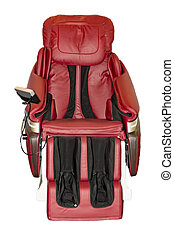 Massage chair with arm rest and leg space.
