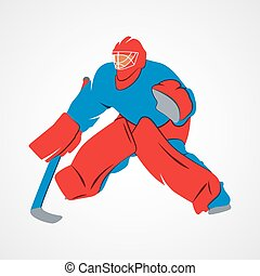 player hockey goalie - Abstract hockey goalie player on a...