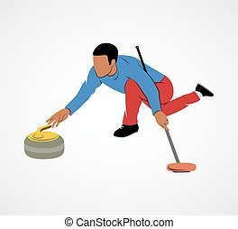 Curling game sport - The game of curling on a white...