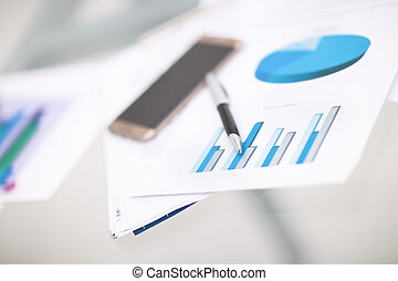 Financial close-up background. Financial accounting graphs,...