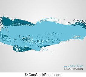 Abstract blue paint artistic brush background. Vector
