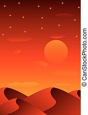 evening sandy desert - Evening sandy desert, vector art...