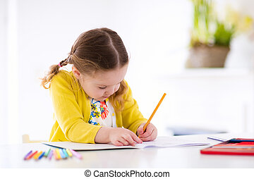 Kids read, write and paint. Child doing homework. - Cute...