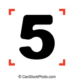 Number 5 sign design template element. Black icon in focus...