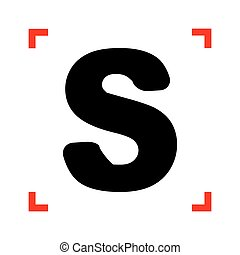 Letter S sign design template element. Black icon in focus...