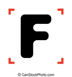 Letter F sign design template element. Black icon in focus...
