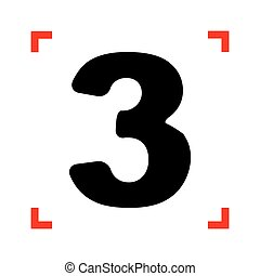 Number 3 sign design template element. Black icon in focus...
