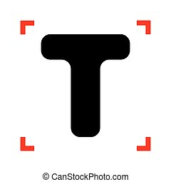 Letter T sign design template element. Black icon in focus...