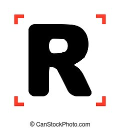Letter R sign design template element. Black icon in focus...