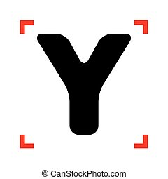 Letter Y sign design template element. Black icon in focus...