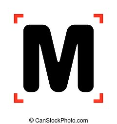 Letter M sign design template element. Black icon in focus...