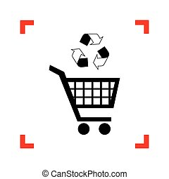Shopping cart icon with a recycle sign Black icon in focus...