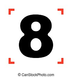 Number 8 sign design template element. Black icon in focus...