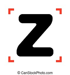 Letter Z sign design template element. Black icon in focus...