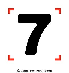Number 7 sign design template element. Black icon in focus...