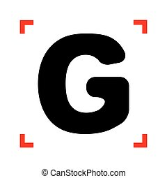 Letter G sign design template element. Black icon in focus...