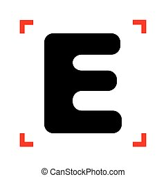 Letter E sign design template element. Black icon in focus...