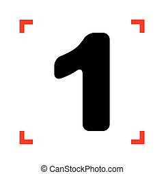 Number 1 sign design template element. Black icon in focus...