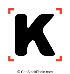 Letter K sign design template element. Black icon in focus...