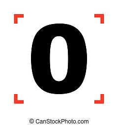 Number 0 sign design template element. Black icon in focus...