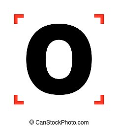 Letter O sign design template element. Black icon in focus...