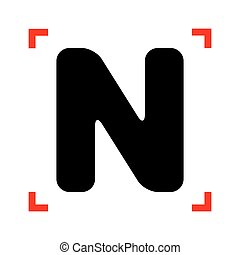 Letter N sign design template element. Black icon in focus...