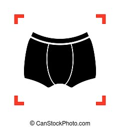 Man`s underwear sign. Black icon in focus corners on white backg