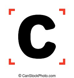 Letter C sign design template element. Black icon in focus...
