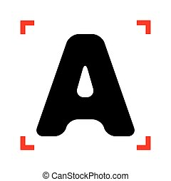 Letter A sign design template element. Black icon in focus...