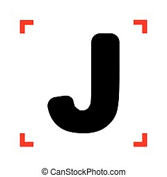 Letter J sign design template element. Black icon in focus...