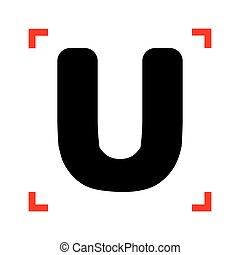 Letter U sign design template element. Black icon in focus...