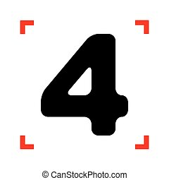 Number 4 sign design template element. Black icon in focus...