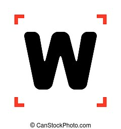 Letter W sign design template element. Black icon in focus...