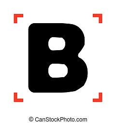 Letter B sign design template element. Black icon in focus...