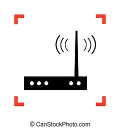 Wifi modem sign. Black icon in focus corners on white...