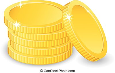 Vector Illustration of golden coins. Isolated on white. Increase earnings. Business finance