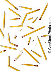 broken pencils - close up of used pencil on white background...