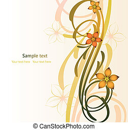 Abstract autumn image with flowers Vector - Abstract floral...